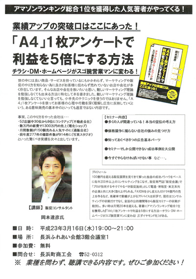 愛媛県 長浜町商工会主催 販売促進(広告宣伝)セミナー講師