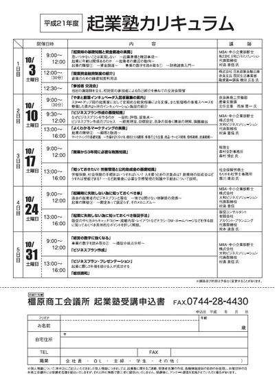 橿原商工会議所起業塾2009